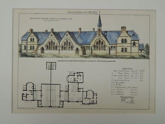Brookfield National Schools, Highgate Rise, London, UK, 1872, Original Plan. John P. Seddon.