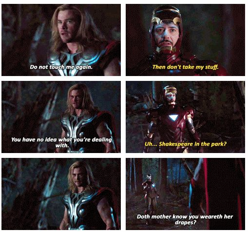 """The Avengers: Iron Man/Tony Stark asks Thor """"Doth mother know you weareth her drapes?"""""""