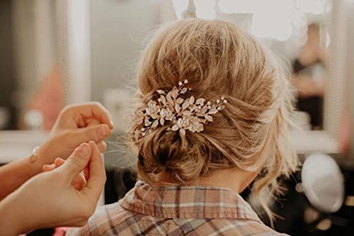 Sweetv Light Rose Gold Wedding Clip Rhinestone Bridal Comb Barrette Handmade Flower Clip He Floral Wedding Hair Accessories Rhinestone Bridal Rose Gold Wedding
