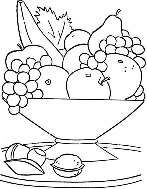 سلة فواكه للتلوين جاهزة للتحميل و الطباعة بفبوف Fruit Coloring Pages Food Coloring Pages Coloring Pictures