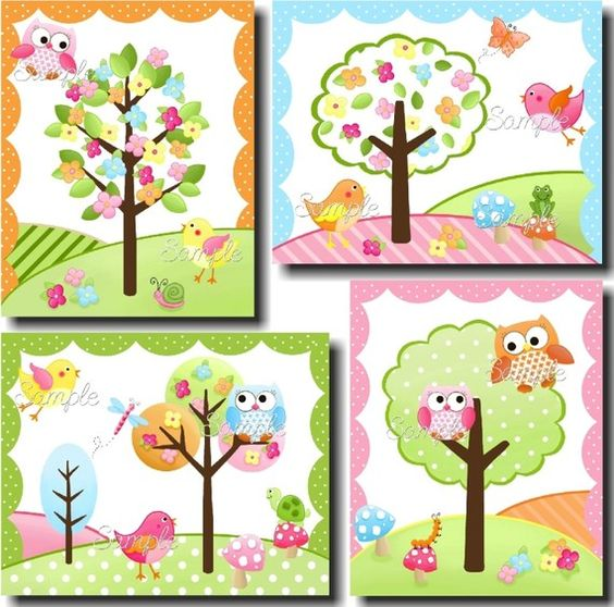 Set of 4 Owls Love Birdies Girls Bedroom and Baby by ToadAndLily, $20.00