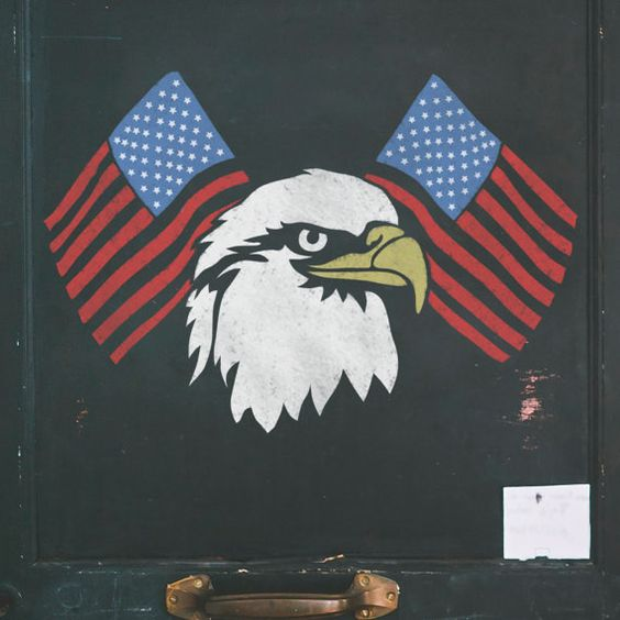 American Flags & Eagle Stencil  Independence Day by StencilsLabNY