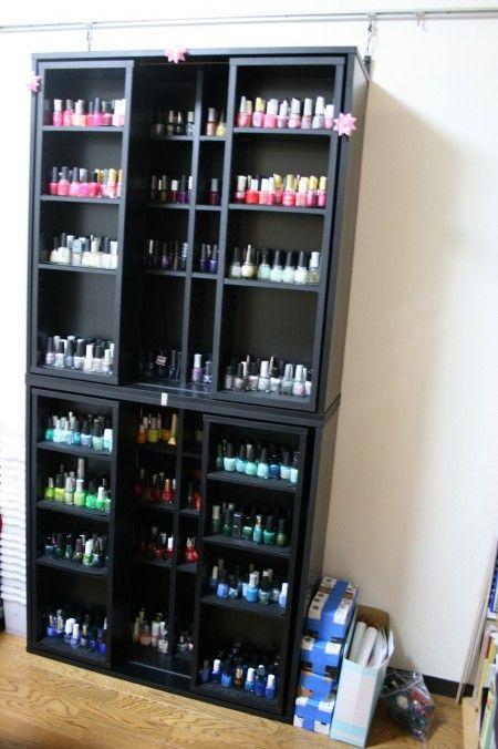 sliding shelves nail polishes and polish on pinterest. Black Bedroom Furniture Sets. Home Design Ideas