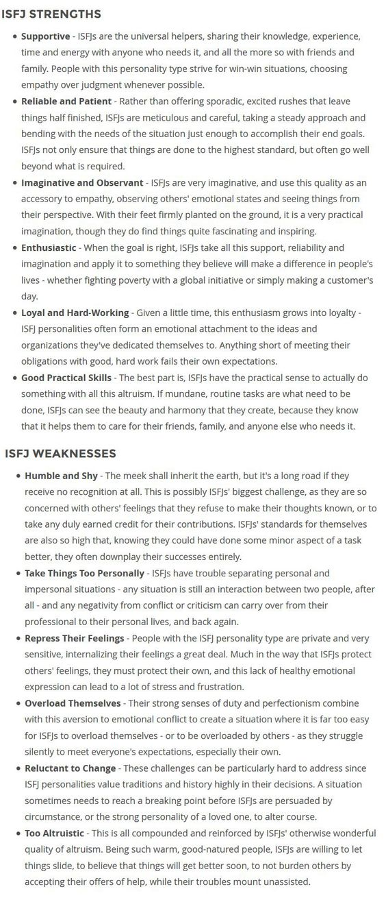ISFJ Strengths & Weaknesses
