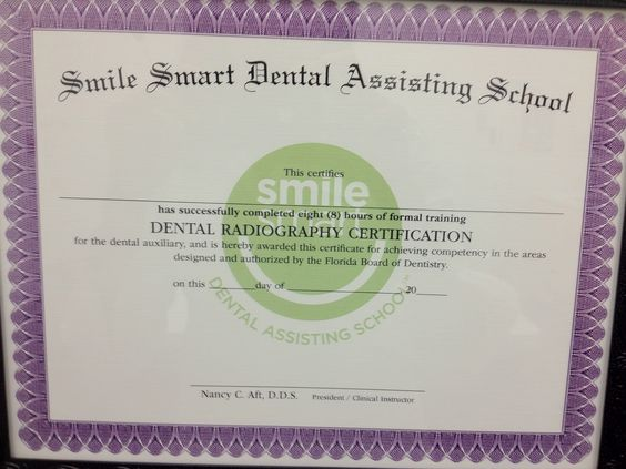 Of The Certificates You Receive From Our  Week Dental Assisting