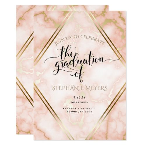 Graduation Party Rose Gold Marble Invitation Zazzle Com Marble Invitation Rose Party Rose Gold Marble