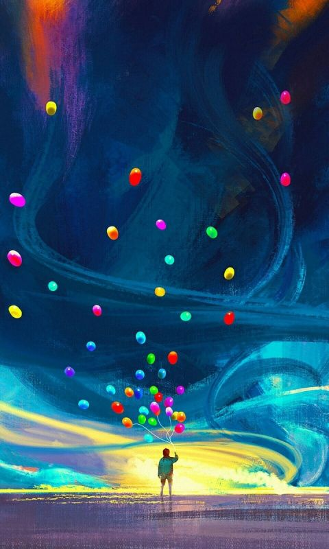 Boy With Balloons Storm Sky Art 480x800 Wallpaper Art 480x800 Wallpaper Balloon Art