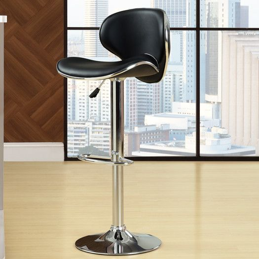 Found it at AllModern - Diner Adjustable Height Swivel Bar Stool with Cushion