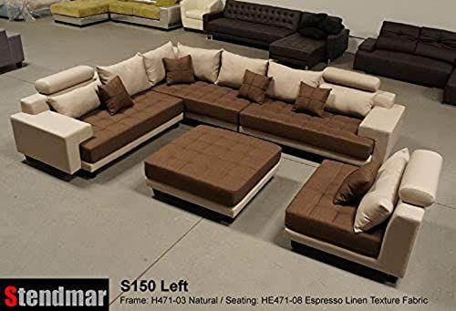 Buy Stendmar 5pc Multifunction 2 Tone Linen Fabric Big Sectional