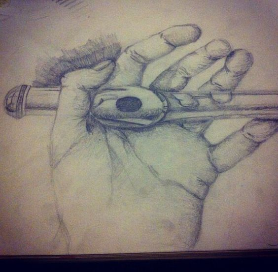 Pencil drawing of hand holding a flute. I need to draw ...