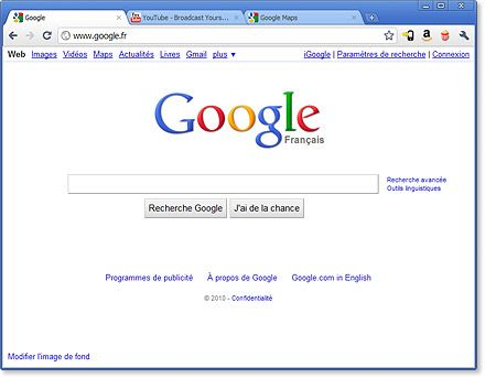 Interface utilisateur de Google Chrome
