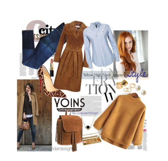 """""""Yellow High Neck Jumper Style"""" by salexanderdesigns ❤ liked on Polyvore featuring rag & bone, Christian Louboutin, Miss Selfridge, Pieces, Carolee, Jane Iredale, Bobbi Brown Cosmetics and yoins"""