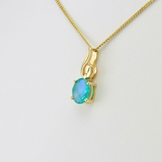 [5902] 14k gold neptune quartz 1.7ct oval pendant
