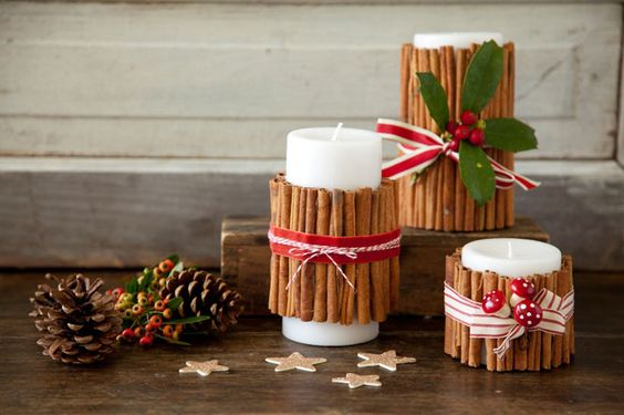 DIY Cinnamon Christmas Candles - 50 Best Christmas Decoration Ideas for 2015 | http://homebnc.com/best-christmas-decoration-ideas/2/ | #christmas #decoration #holidays #decor #homedecor #idea #creative #diy #homebnc