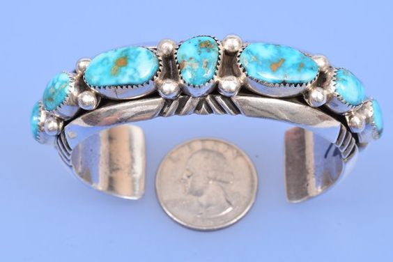 Navajo seven-stone dead-pawn cuff.   High Plains Jewelry