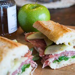 A Really Good Sandwich - prosciutto, apple, honey, dijon, arugula and buffalo mozzarella on a fresh baguette.