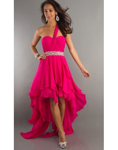 one strap high low prom dress
