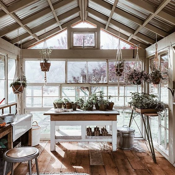 What a cheerful place to pot plants!