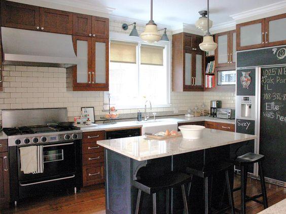 Black Appliances White Countertops Dark Wood Cabinets Kitchen Kitchen Ap