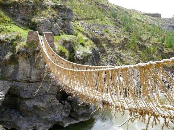 Queshuachaca, the last surviving ancient Incan bridge.
