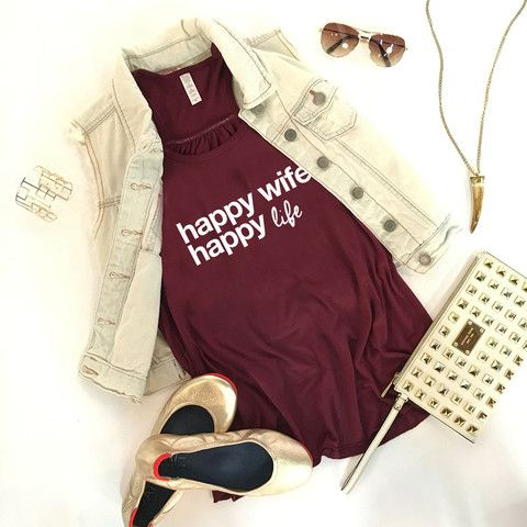 Katydid Happy Wife Happy Life Wholesale Fashion Tank Tops