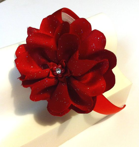 Hair Accessories Red Headband w/Red Glitter by JustMyStyleByTess