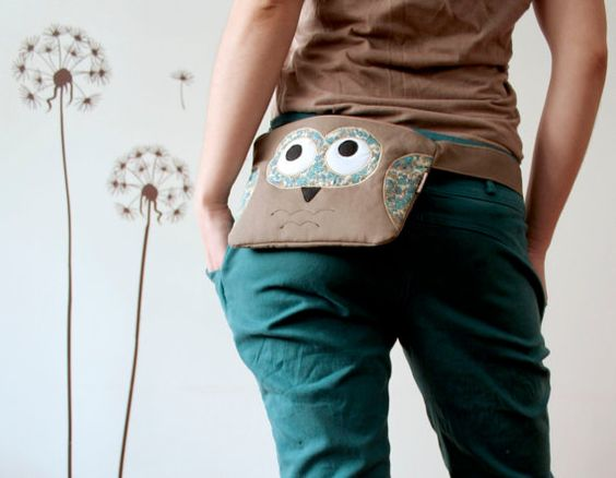 Spring Owl fanny pack belt bag with removable by ritaboth121, $38.00