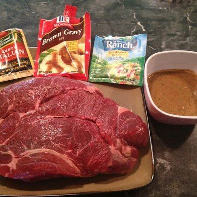 4 Ingredient Crock Pot Roast....Easiest and most amazing roast ever. Combine the Dry Ranch Dressing packet, the dry Italian Dressing and Brown Gravy packets with a 1/2 cup of water and pour over roast in a crock pot.