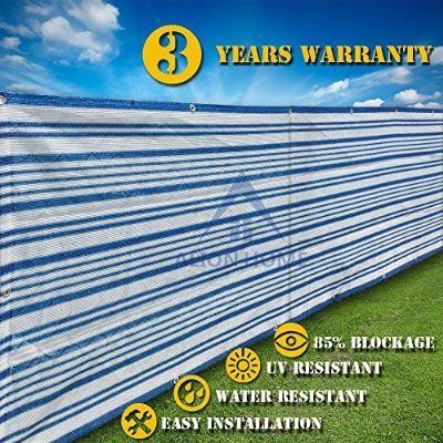 This striped fence cover is made with a type of nylon that provides wind protection and definitely keeps your privacy. What's even better is it's water resistant and UV resistant so it protects from the sun as well.
