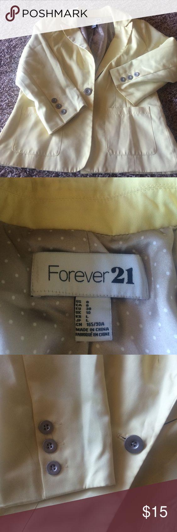 Blazer Forever 21 yellow dual pocket accent blazer! Like new barely worn ! Polka dot lining! Forever 21 Jackets & Coats Blazers