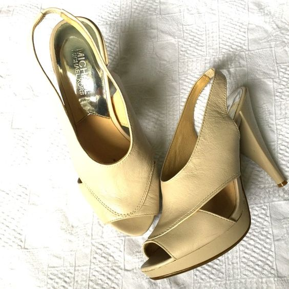 Michael Kors Heels EUC. Beige pumps. So comfortable!!!! True 7. Just a very tiny rub on one heels (see 4th pic) that I just saw. Wore maybe 3 times if that. MICHAEL Michael Kors Shoes Heels