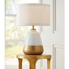 Possini Euro Alain White-Gold Glass Table Lamp