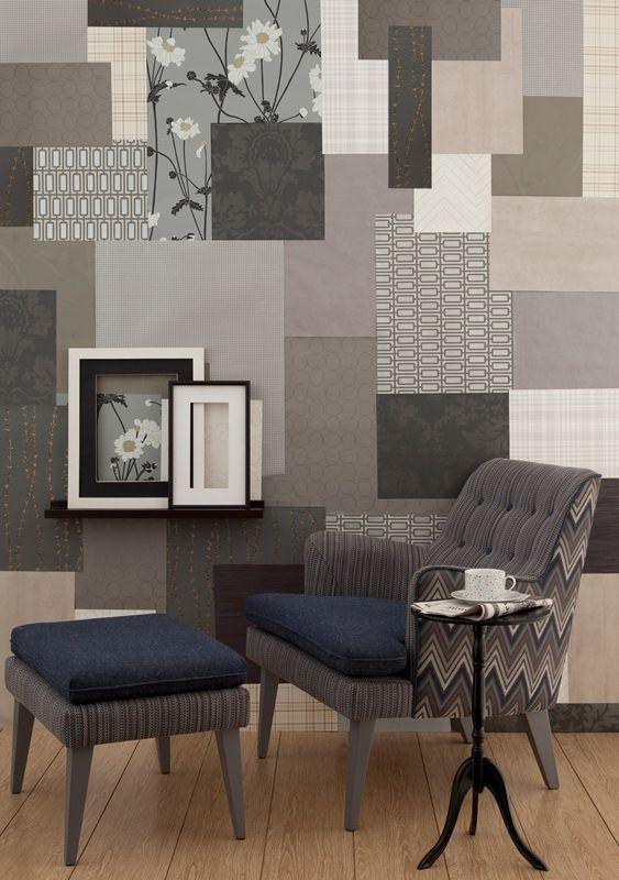 A ideia aqui é preencher toda a parede com retalhos de papel de parede. Ouse na combinação. O papel foi fornecido pela Wallpaper. A poltrona é da Clami e a mesa lateral é da Tok & Stok.
