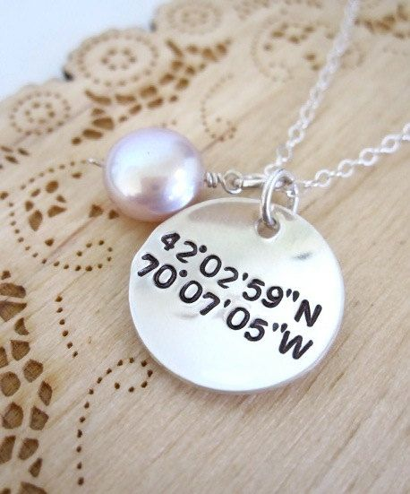 Geocache Gps Coordinates Necklace Handstamped Sterling Silver Jewelry I Love This Idea For How