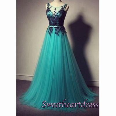 Beautiful green tulle long prom dress with lace applique, formal dress, prom dresses for teens #coniefox #2016prom
