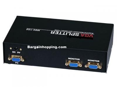 2-Way SVGA VGA Splitter Amplifier Multiplier 400 MHz - Black - $34.99 :: BargainHopping Cameras, PC Hardware, Electronics.