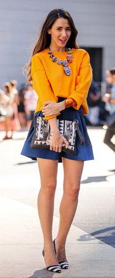 Orange and Blue Street Style