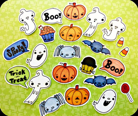 24 piece Halloween Sticker Pack by HinckleDoodle on Etsy, $6.00