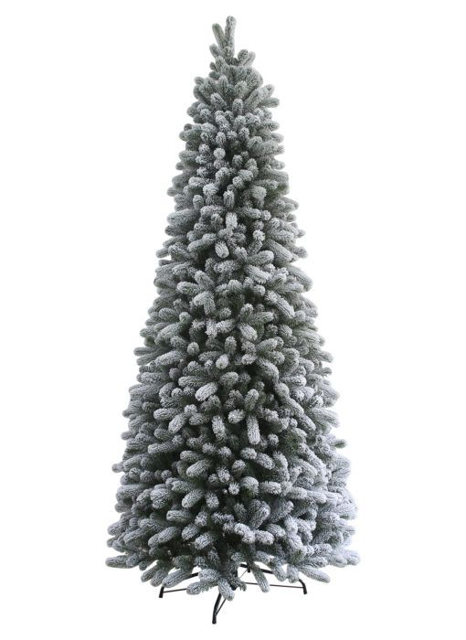 12 King Flock Quick Shape Artificial Christmas Tree With 1650 Warm White Led Lights Slim Artificial Christmas Trees Slim Christmas Tree Flocked Artificial Christmas Trees