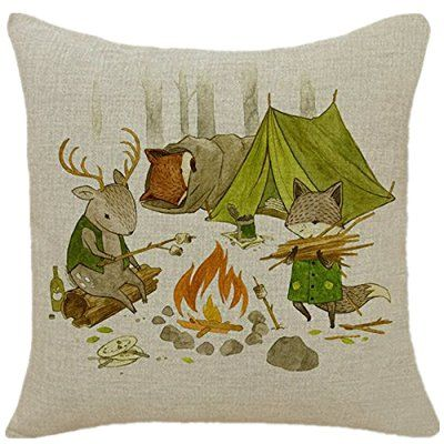 Goldenchildhood Animal Series Cartoon Lovely Goat and Fox Style Throw Pillow Case Decor Cushion Covers Square 18*18 Inch Beige Cotton Blend Linen