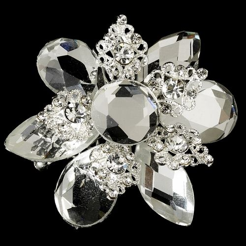 Vintage Crystal Silver Bridal Brooch