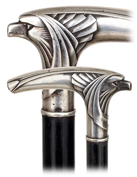 Lot: 15. WMF Art Nouveau Eagle Cane-Ca. 1900-Figural silver, Lot Number: 0015, Starting Bid: $700, Auctioneer: Kimball M. Sterling Inc. TFL-1915, Auction: Antique Cane Auction 11 am Eastern, Date: May 30th, 2015 MDT