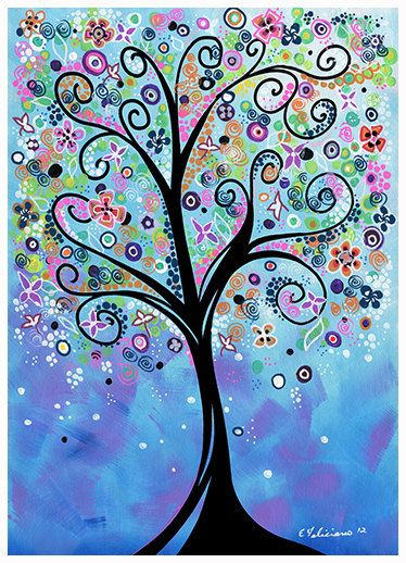Gallery Canvas and Fine Art Prints Whimsical Tree Painting Tree ...