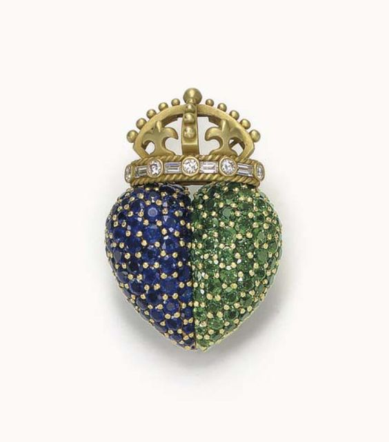 A TSAVORITE GARNET, SAPPHIRE AND DIAMOND BROOCH, BY BARRY KIESELSTEIN-CORD - Christie's