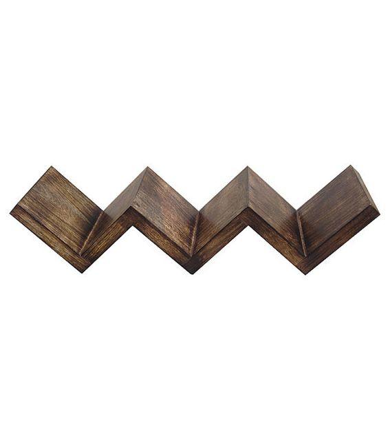 wooden bookshelf zig zag wall mount media shelf bracket. Black Bedroom Furniture Sets. Home Design Ideas