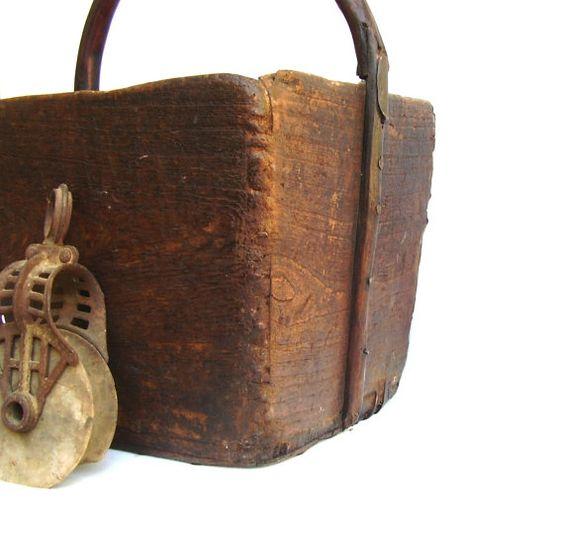 Antique Grain Bucket Vintage Rustic Wooden by OceansideCastle, $260.00