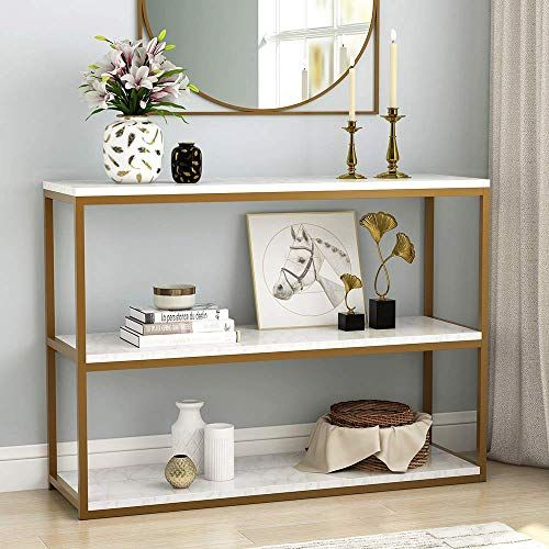 The Perfect Tribesigns 3 Tier Console Table Gold Sofa Entry Table With Faux Marble Top In 2020 Console Table Decorating White Console Table Contemporary Console Table