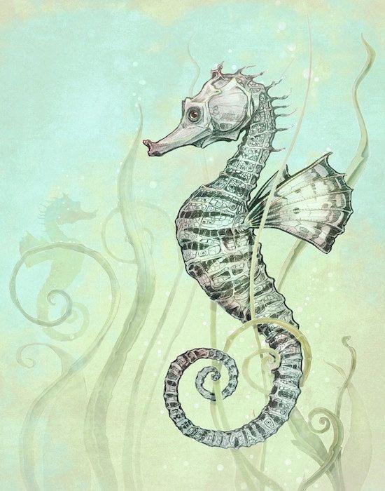 Seepferdchen Kunstdruck - nautische Fantasy Wand-Kunstdruck - Fantasy Art Seahorse Print - grün - türkis - gelb - Farbe