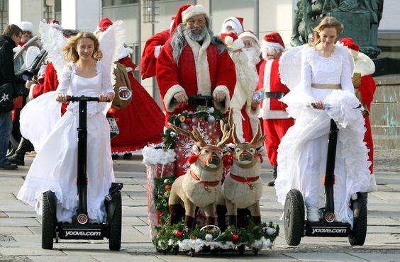Santas on Segways, people. SANTAS ON SEGWAYS.