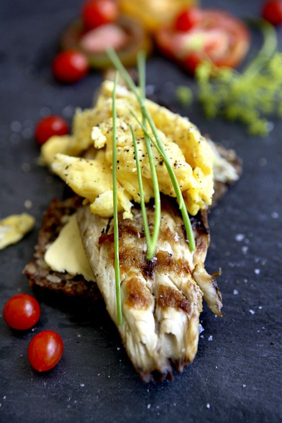 Danish Smørrebrød - smoked mackrels with scrample eggs -  Clemmensen and Brok